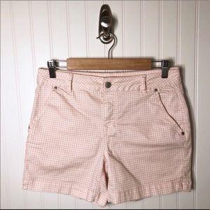 Artisan NY Pink White Check Denim Shorts size 8